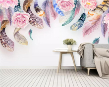 beibehang Customized childrens room decoration 3d wallpaper mural Small fresh watercolor feather floral behang