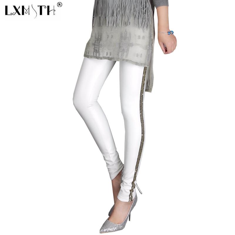 c48d5574b15d6 XL 2XL 3XL Spring Plus Size White Leggings Pants Women Sequined Striped  Skinny Leggings Fashion Solid Stretchy