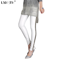 XL 2XL 3XL Spring Plus Size White Leggings Pants Women Sequined Striped Skinny Leggings Fashion Solid Stretchy