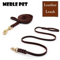 MERLE PET NEW Chất Lượng Cao Genuine Leather Braided Thực Da Dog Leash K9 Đi Bộ Đào Tạo Dẫn cho Chăn Cừu Đức A07007