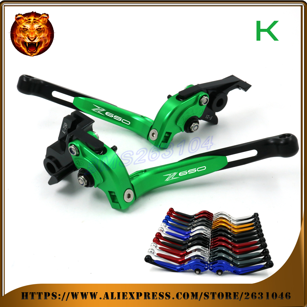 For kawasaki Z650 650 2017 Motorcycle Adjustable Folding Extendable Brake Clutch Lever Free Shipping With logo GREEN+BLACK CNC