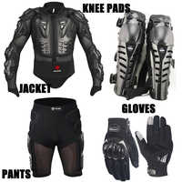 Un Set Giacca Moto Pantaloni Corti Al Ginocchio di Protezione Guanti Motocross Armatura Motocross Vestiti Abbigliamento Moto Moto Guanti