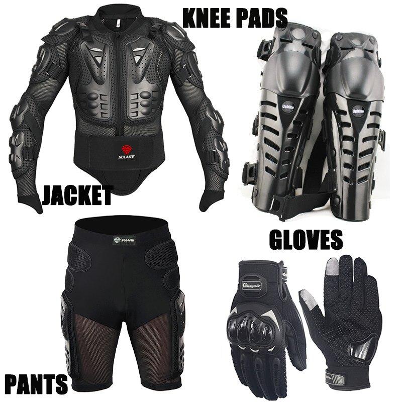 Un ensemble veste de Moto pantalon court gants de Protection du genou armure de Motocross costumes de Motocross vêtements Moto gants de Moto