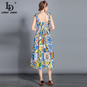 Image 4 - LD LINDA DELLA Fashion vestido Midi de algodón para mujer, vestido con lazo y tirantes finos, con hermosa estampado Floral