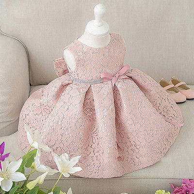 Chic Lace Floral Girls Dresses Bow Solid pink White Sleeveless Ball Gown Party Dresses недорго, оригинальная цена