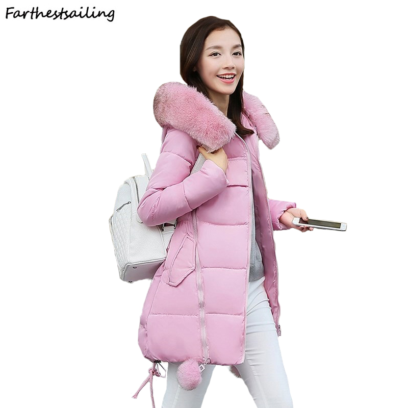 Women Winter New Jacket Fur Collar Hooded Down Cotton Female Coat   Parka   Long   Parka   Warm Thicken Outwear Wadded Plus Size 5XL 6XL