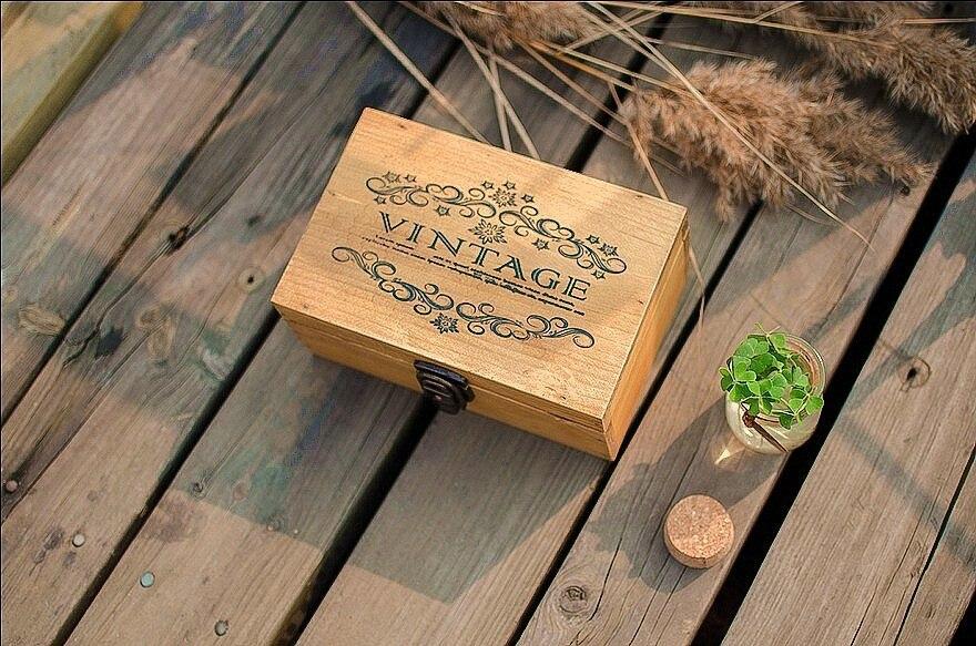 Zakka épicerie boîte en bois boîte de serrure en bois boîtes en bois pour artisanat artisanat accessoires livraison gratuite