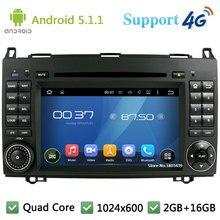 Quad Core 1024*600 Android 5.1.1 Car DVD Player Radio 3G/4G WIFI GPS Map DAB+ For Benz Sprinter Vito W169 W245 W469 W639 B200
