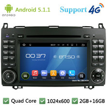 Quad Core 1024*600 Android 5.1.1 Car DVD Player Radio 3G/4G WIFI GPS Map DAB+ For Benz Sprinter Vito W169 W245 W469 W639 B200