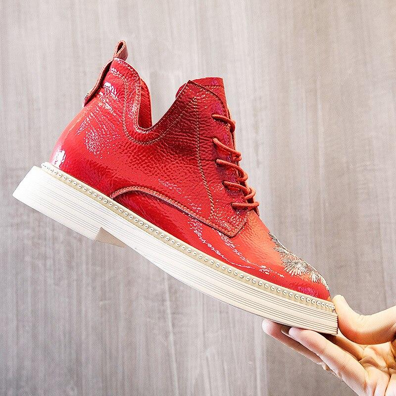 Minpinstyle/Новинка 2018 г., осенне-зимние женские ботинки, ботинки в стиле локомотива, красные Модные женские короткие Ботинки Martin с цветочным прин...