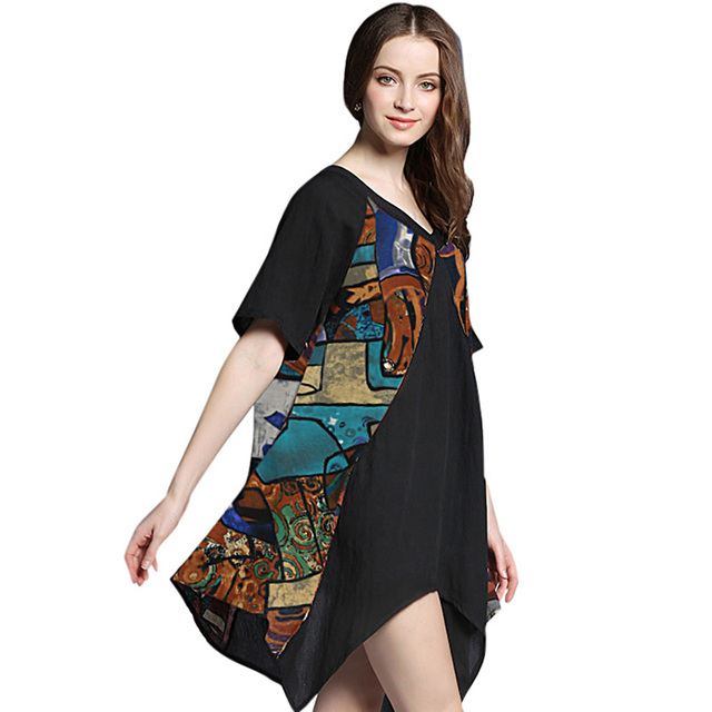 US $12.31 43% OFF|Anself Women Plus Size Boho Dress Colorful Graffiti  Floral Geometric Print Mini Dress V Neckline Irregular Vintage Loose  Dress-in ...