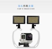 Gopro Kamery Podwójne Głowice Hot Shoe Uchwyt Uchwyt Uchwyt Obsługiwane Światła Wypełniającego Twin Podwójne Podwójne Ramię Można Używać Pod Wodą