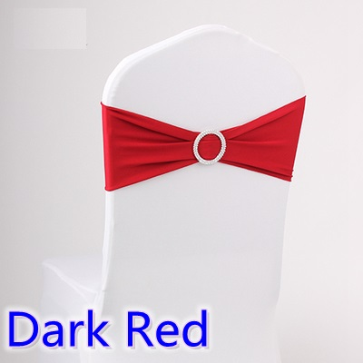 Dark red colour wedding chair sash spandex band with diamond buckle for chair covers lycra bow tie spandex sash ribbon on sale
