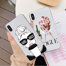 Fashion Black Brown coffee girl Case For iPhone XS MAX XR Female boss Cover 6 6S 7 8 Plus X Queen Silicone Phone