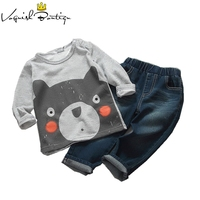 Baby Boys Clothing Set Cut Bear Printed T Shirt With Jeans Long Sleeve 2pcs Set Boys
