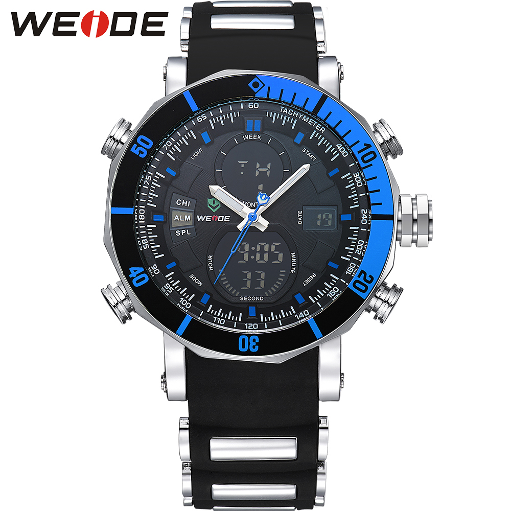 WEIDE Top Brand Multifunctional Sport Watches for Men Analog Digital High Quality Big Dial LCD 30M Waterproof Stop Alarm Watch weide brand irregular man sport watches water resistance quartz analog digital display stainless steel running watches for men
