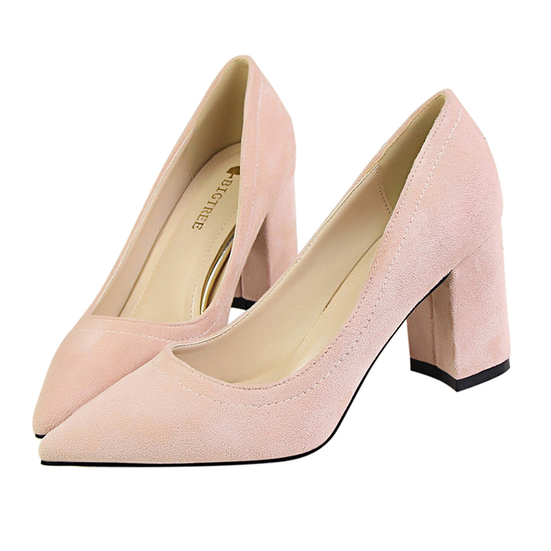 Beige Color Flock Woman High Square Heels Pumps Lady' Sexy Pointed Toe Slip On Women Wedding and Office Shoes  Plus Small Size bowknot pointed toe women pumps flock leather woman thin high heels wedding shoes 2017 new fashion shoes plus size 41 42