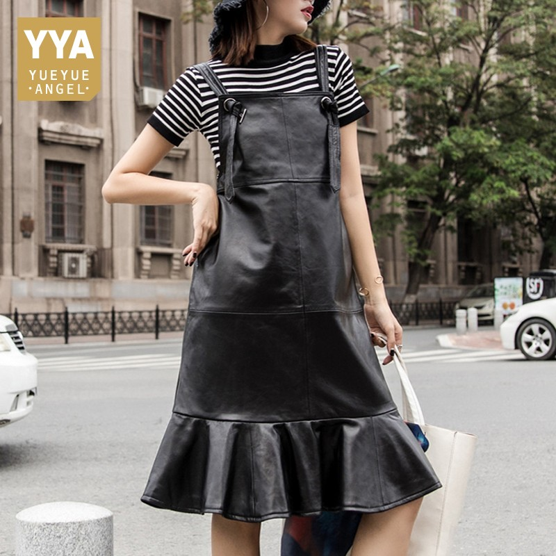 2019 New Autumn Womens Dress Fashion Genuine Leather Solid Suspender Dress Streetwear Casual Loose Fit Ruffles