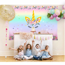 Jednorożec Birthday Party Theme Backdrops Niestandardowe Rainbow Flower Miłość Księżniczka Tło Photo Shoot Photography Tła Studio