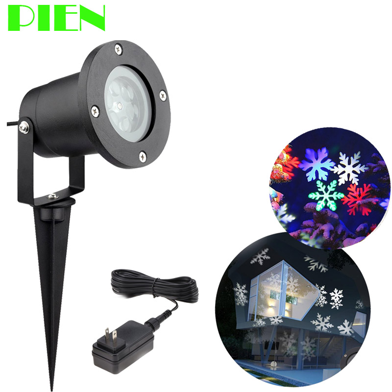 Holiday Lighting Christmas Snowflake projector Outdoor led lawn light Waterproof for Garden decor White RGB with Power plug