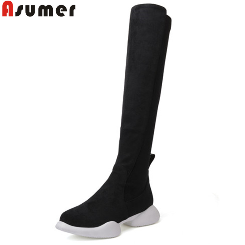 ASUMER black fashion autumn winter boots women round toe zip suede leather boots flat with knee high boots ladies prom shoes asumer black fashion 2018 autumn winter boots women round toe zip mixed colors ankle boots flat with suede leather boots