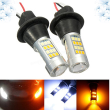 2PCs Dual Color Turn Signal light 1156/BAS15S 7440/T20 12V 50W 2835 Canbus No Error White/Amber Switchback LED Bulbs car bulbs zauleon 2pcs 1157 led switchback bulb white amber yellow led dual color for car drl front turn signal light