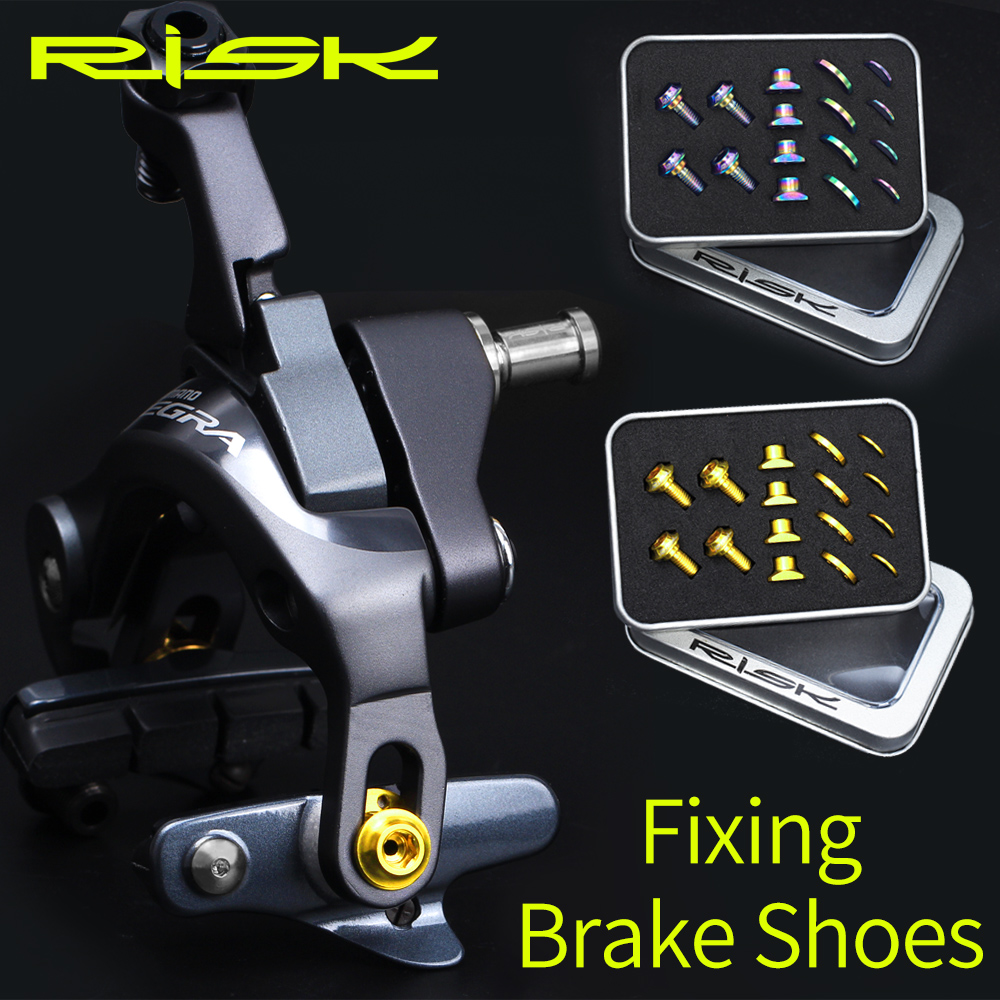 Risque 16 pièces/boîte vis en alliage de titane pour UT/DA/105 vélo de route C chaussures de frein C pince de frein plaquettes de fixation écrous boulons Kits avec joint