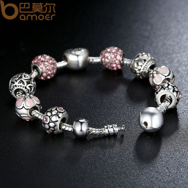 BAMOER Antique Silver Charm Bracelet & Bangle with Love and Flower Beads Women Wedding Jewelry 4 Colors 18CM 20CM 21CM PA1455 2