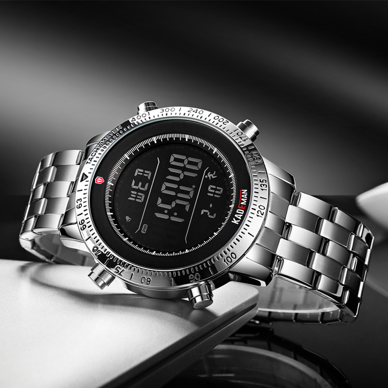 2019 TOP Luxury Mens Watches Tech Sport Step Counter Digital Watch Brand Quality 3ATM Full Steel LED Military Wristwatch KADEMAN in Digital Watches from Watches