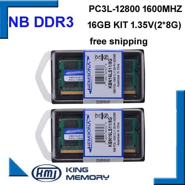 Kembona chegam novas rams portáteis sodimm ddr3l ddr3 16 gb (kit de 2 peças ddr3 8 gb) PC3L-12800 1.35 v baixa potência 204pin memória ram