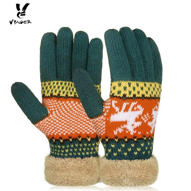 vbiger women knitted winter thick gloves female full finger mittens warmer gloves christmas deers gloves with - Christmas Mittens