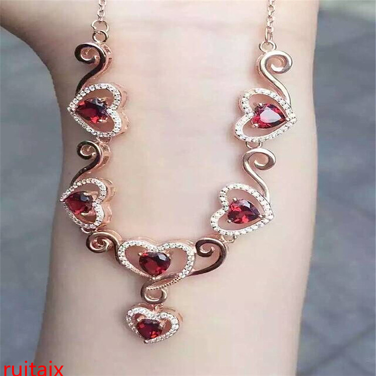 KJJEAXCMY boutique jewels 925 pure silver inlaid with gold jewelry natural garnet heart type pendant jewelry necklace.KJJEAXCMY boutique jewels 925 pure silver inlaid with gold jewelry natural garnet heart type pendant jewelry necklace.