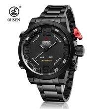 01ade43d9e8 Top Marca OHSEN Digitais Relógio de Quartzo Estilo Exército Piloto Relógio  de Homens De Aço Inoxidável Relógio À Prova D  Água E..