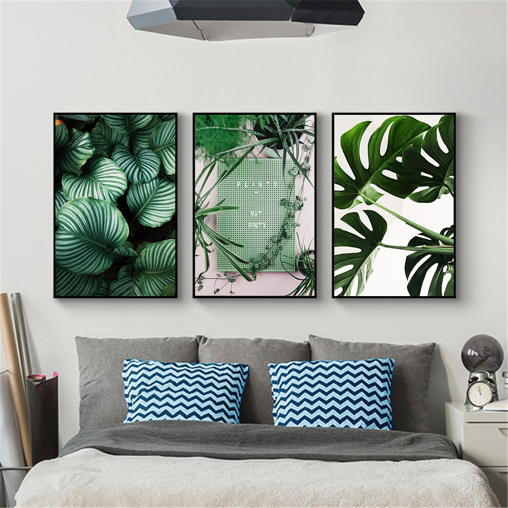 Tableau Mural Nordic Poster Green Plant Leaf Wall Art Canvas Paintings Bedroom Decoration Picture Hd Print Tableau Mural