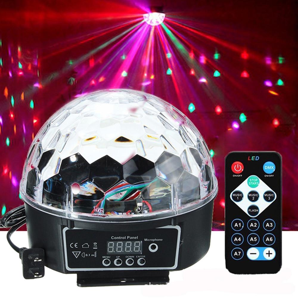 DMX512 RGB Control de sonido Premium etapa luz LED 27W 9LEDS RGB bola de cristal mágico lámpara Disco luz láser boda fiesta casa lase 5 uds 4mm/0,16
