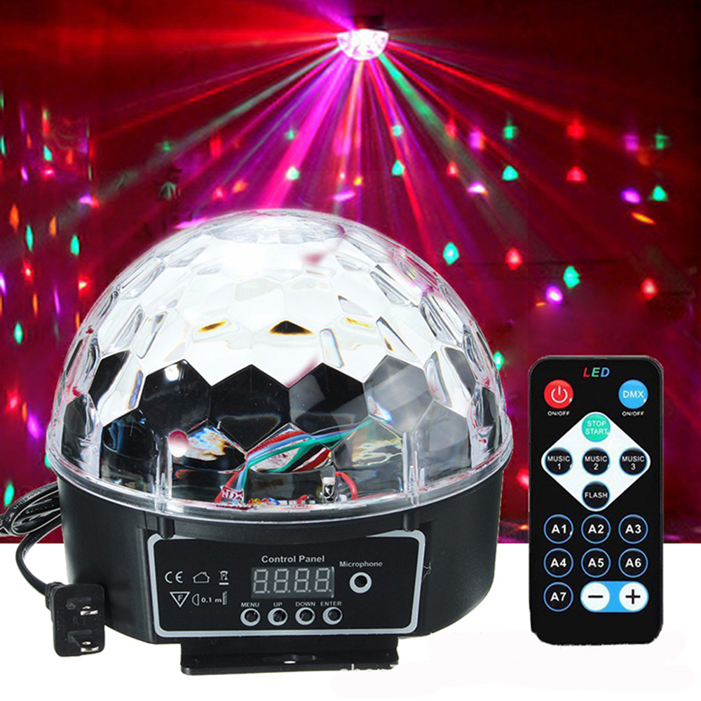 DMX512 RGB Premium Sound Control Stage Light LED 27W 9LEDS RGB Magic Crystal Ball Lamp Disco Light Laser Wedding home Party lase-in Stage Lighting Effect from Lights & Lighting on