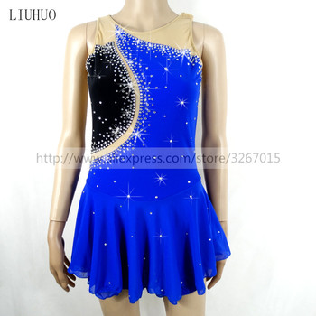 Figure Skating Dress Women's Girls' Ice Skating Dress Sleeveless Round neck Blue High stretch spandex fabric Rhinestone