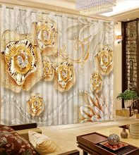 3D Curtain Photo Customize Size Lace Golden Flower Diamond Curtains For Bedroom Curtains For Living Room(China)