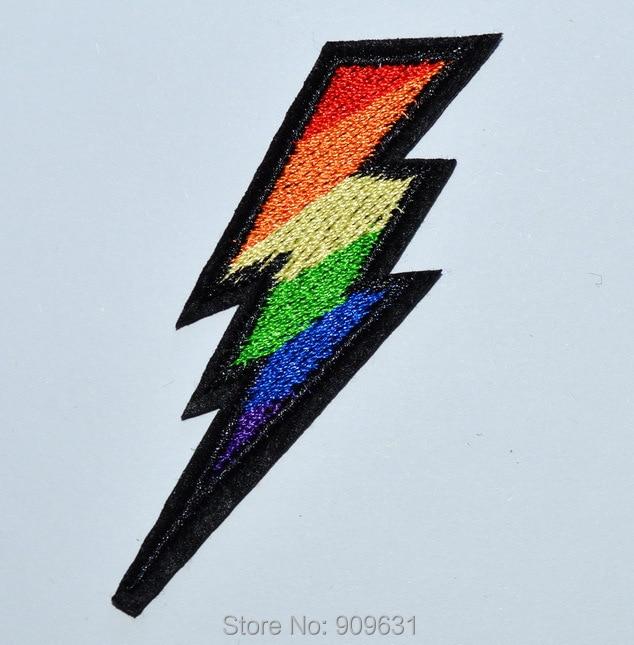 Rainbow The Flash Lightning Bolt Symbol Thunder High Voltage Iron On