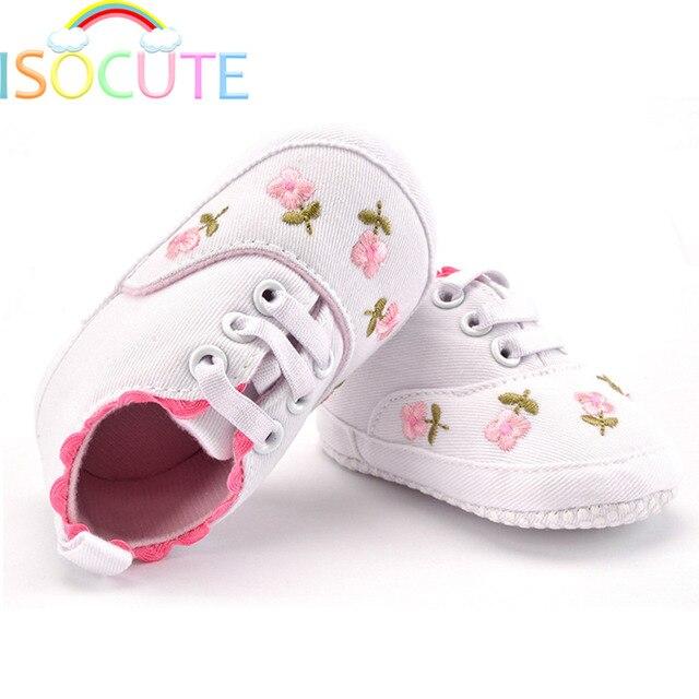 Primavera Bordado Flor Zapatos de Niña, Rosa Blanca Cuna Lindo ...