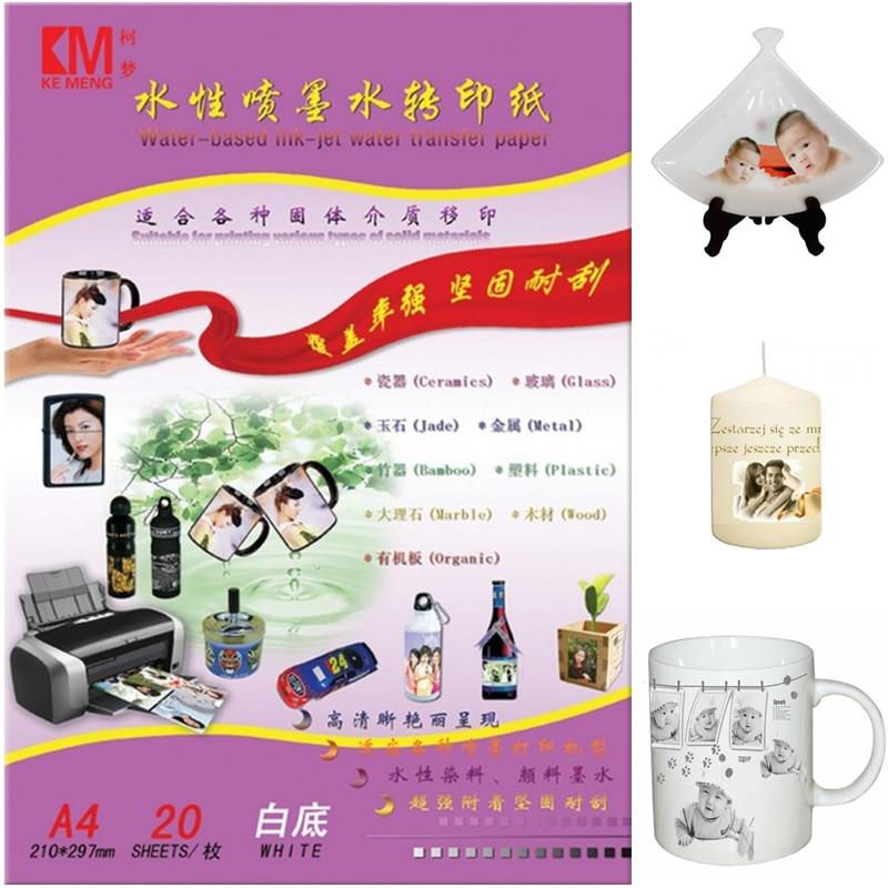 White Inkjet Waterslide Decal Paper Wholesale 50 A4