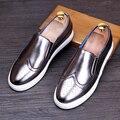 Mens ocasional oficina de negocios vestido zapatos brogue cuero genuino transpirable slip on de bueyes tallados zapatos de plataforma pisos mocasines hombre