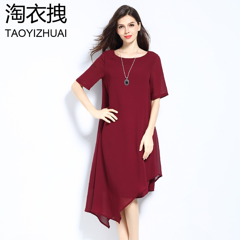 Women summer chiffon loose beach dresses Elegant Casual black big size Irregular Party Dresses plus size
