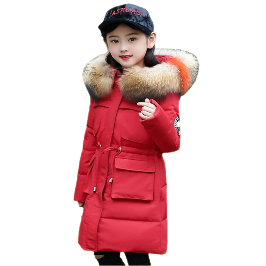 -30 degree Girls Clothes Children warm Down Jacket for Girl 2019 Winter Thickening Parka Fur Hooded Kids Outerwear Coat New Year стоимость