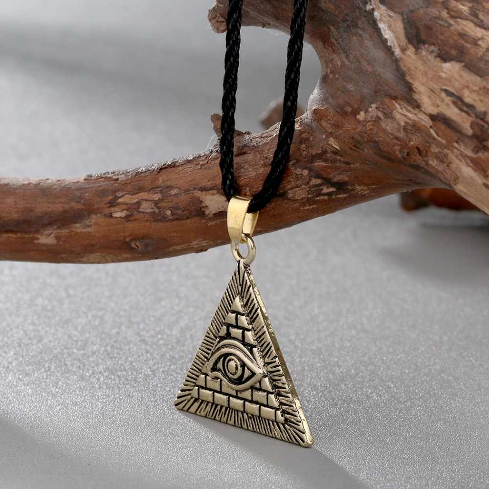 QIMING Vintage Men Necklace Women Egyptian Egypt Pyramid All-Seeing Evil Eye Illuminati Silver Charm Pendant Necklaces
