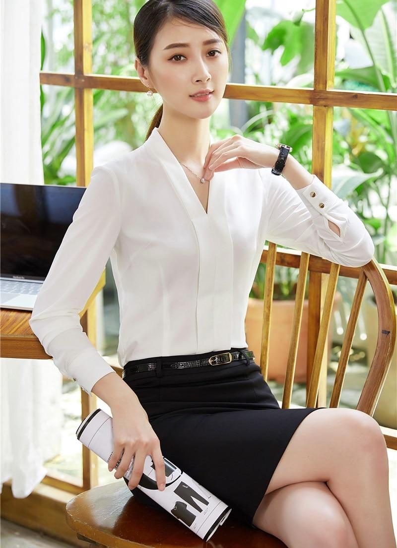 GroßZüGig Frauen Anzüge Mit Zwei Stück Rock Und Top-sets Schlank Weiß Blusen Damen Arbeitskleidung Kleidung Büro Uniform Styles