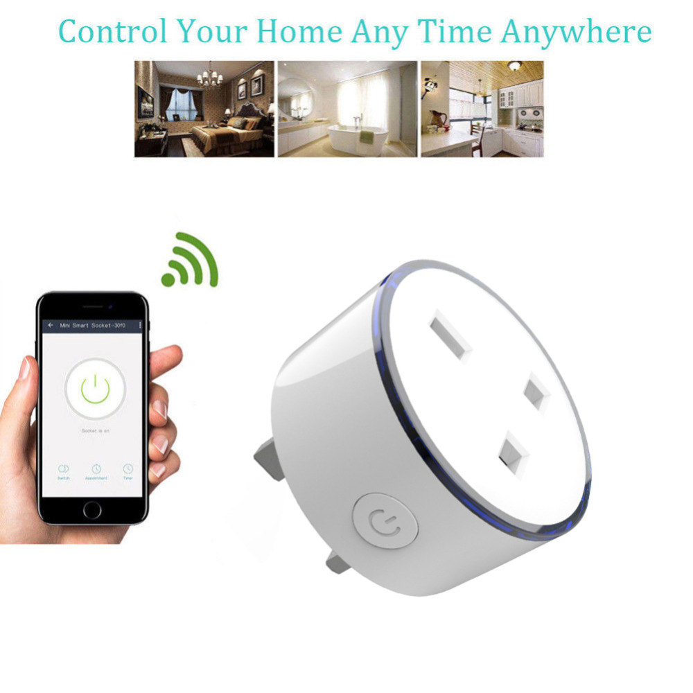 UK Plug Wireless WIFI Smart Socket Plug Timing Switch Remote Control Wireless Scene Light Socket Home Smart Outlet Dropship