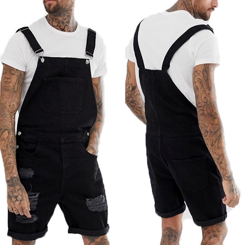MoneRffi Summer Men Fashion Blue Black Short Jeans Overalls Hip Hop Ripped Jeans Short Jumpsuit Denim Suspender Pants 2019 New