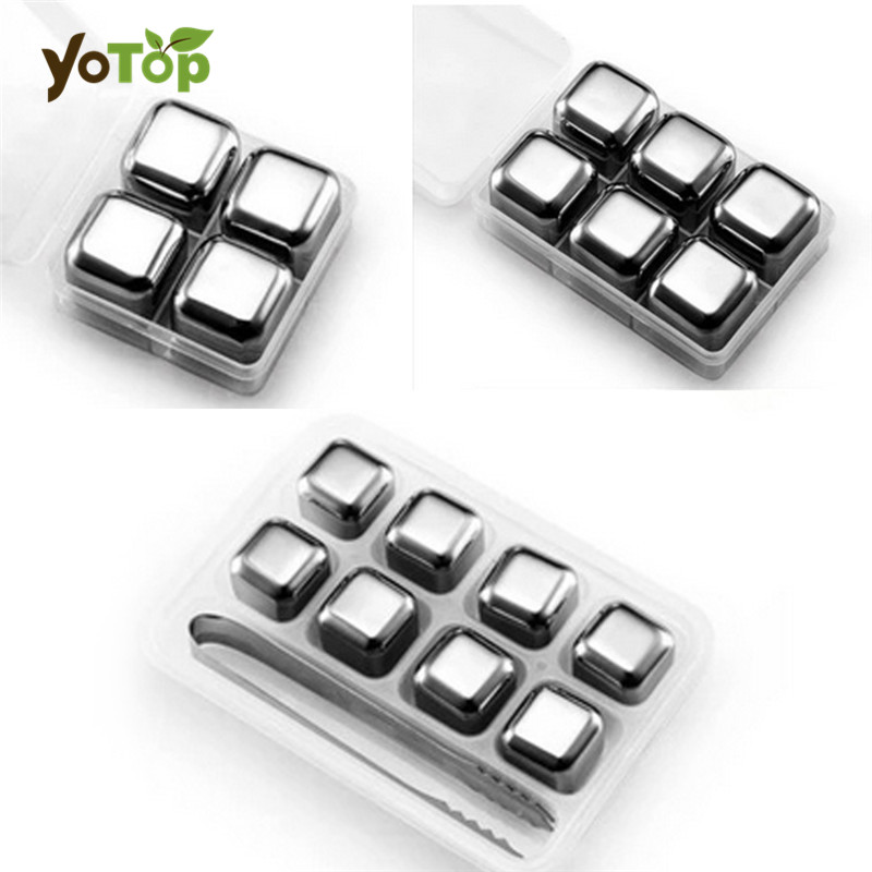 YOTOP Stainless Steel Whisky Ice Cubes/Bar KTV Supplies Magic Wiskey/Wine/Beer cooler 4 6 8pcs Rocks Ice Coolers Holder Boxed