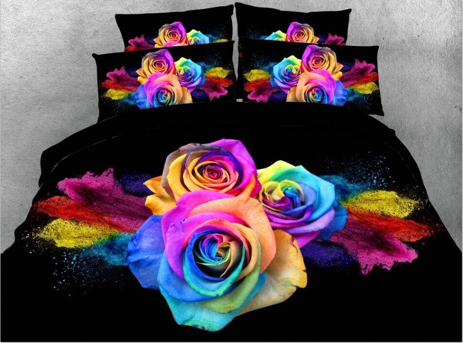 3D Colorful Black Rose Duvet Cover Comforter Bedding Sets